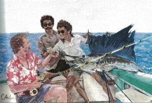 Caroline Arlen Illustration featured in Light Tackle Fishing in Costa Rica, Marlin Magazine