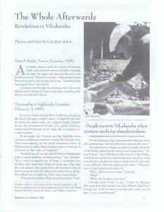 """The Whole Afterwards; Revelations in Vilcabamba, Ecuador"", South American Explorer"